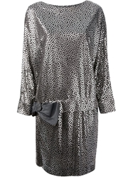 Lanvin Vintage Metallic Print Dress Black