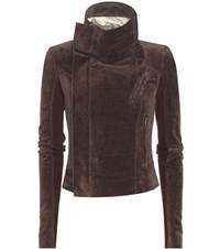 Rick Owens Classic Biker Cotton And Linen Blend Jacket Brown