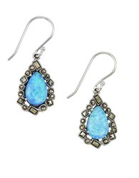 Lord And Taylor Opal Sterling Silver Drop Earrings Blue