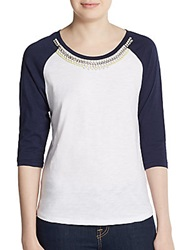 Dex Three Quarter Sleeve Embellished Raglan Tee White Navy