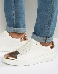 Asos Trainers In White With Copper Metallic Toe Cap White