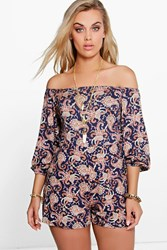 Boohoo Zoey Paisley Print Off The Shoulder Playsuit Multi