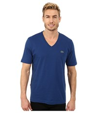 Lacoste L Ve Short Sleeve V Neck Tee Shirt Inkwell Blue Men's Short Sleeve Pullover