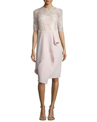 Rickie Freeman For Teri Jon Half Sleeve Lace Ruffled Cocktail Dress Women's