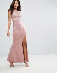 Lipsy Michelle Keegan Loves Sweetheart Maxi Dress With Sequin Lace Upper Taupe Nude Brown