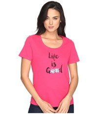 Life Is Good Daisies Snuggle Up Sleep Tee Pop Pink Women's Pajama