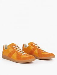 Maison Martin Margiela Orange Leather And Suede Replica Sneakers