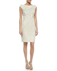 Kay Unger New York Cap Sleeve Floral Lace Tweed Sheath Dress