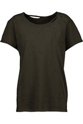 Rta Jewel Distressed Cotton T Shirt Army Green