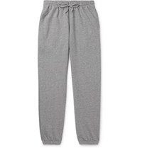 A.P.C. Augustus Slim Fit Tapered Logo Print Loopback Cotton Blend Jersey Sweatpants Gray