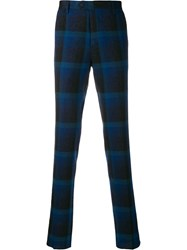 Missoni Checked Slim Fit Trousers Blue