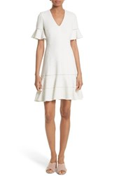 Rebecca Taylor Women's Frill Sleeve Texture Knit Dress Snow