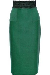 Amanda Wakeley Woman Lace Trimmed Herringbone Wool Pencil Skirt Green