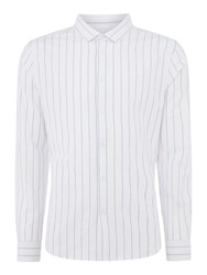 Linea Fleet Cotton Linen Stripe Shirt White