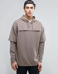 Asos Oversized Longline Hoodie With Double Layer And Storm Kiln Brown