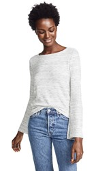 Three Dots Chunky Heather Thermal Top With Flare Sleeves Heather Gardenia