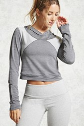 Forever 21 Active Cropped Hoodie Grey Charcoal