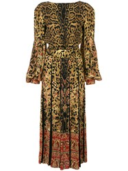 Etro Leopard Print Fit And Flare Dress Viscose Brown