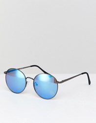 Asos Round Sunglasses In Gunmetal With Blue Mirror Lens Silver