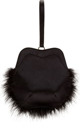 Simone Rocha Black Satin Feather Trimmed Wristlet Clutch