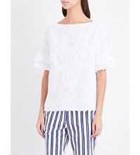 Mih Jeans Flared Cuffs Linen And Cotton Blend Top White