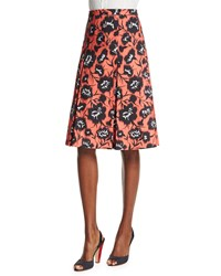 Carolina Herrera Floral Print A Line Party Skirt Black White Coral