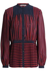 Marco De Vincenzo Pleated Striped Silk Crepe Chine Blouse Red