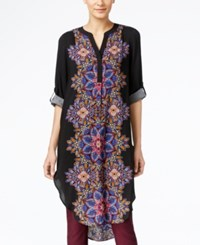 Cable And Gauge Printed Tunic Shirt Border Front Print