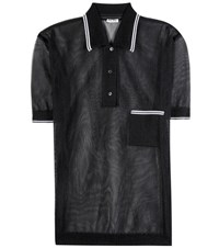 Miu Miu Semi Sheer Polo Shirt Black
