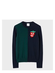 Paul Smith Women's Navy And Green Cashmere Sweater With Embellished 'Strawberry Blue