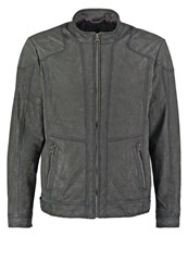 Tom Tailor Leather Jacket Anthracite