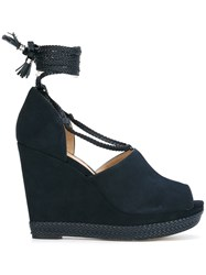 Michael Michael Kors Braided Tie Wedge Sandals Blue