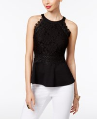 Thalia Sodi Lace Peplum Top Only At Macy's Deep Black