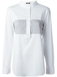Jil Sander Navy Mandarin Collar Striped Pattern Shirt White