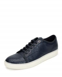 Lanvin Men's Cracked Patent Leather Low Top Sneaker Blue