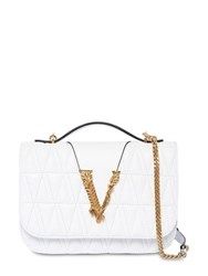 Versace Quilted Leather Shoulder Bag Optic White