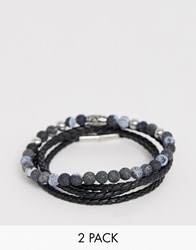 Seven London Black Beaded And Wrap Bracelet In 2 Pack Exclusive To Asos Silver
