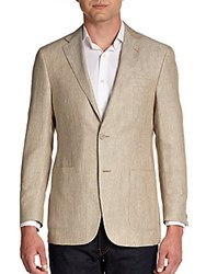Hickey Freeman Linen And Worsted Wool Sportcoat Brown