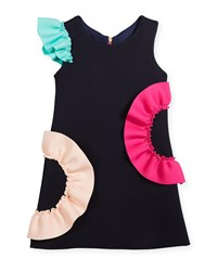 Zoe Neoprene Ruffle Shift Dress Size 4 6X Navy