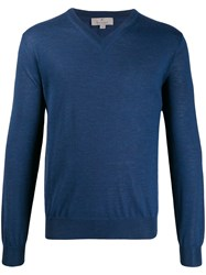 Canali Long Sleeve Fitted Sweater Blue