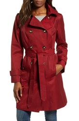 London Fog Double Breasted Trench Coat Red