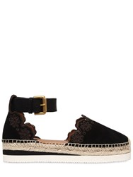 See By Chloe 40Mm Laser Cut Flowers Suede Espadrilles Black