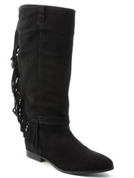 Daniel Riverdale Fringed Knee Boots Black
