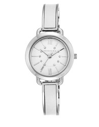 Anne Klein Crystal Embellished Metal And Leather Watch Silver
