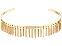 Steve Madden Open Collar With Chain Fringe Choker Necklace Gold Necklace