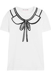 Comme Des Garcons Girl Printed Cotton Jersey T Shirt White