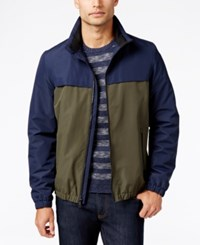 Nautica Two Tone Water Resistant Bomber Jacket Navy Olive