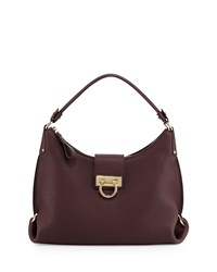 Fanisa Pebbled Gancini Hobo Bag Rouge Noir Salvatore Ferragamo