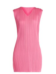 Issey Miyake V Neck Pleated Mini Dress Pink