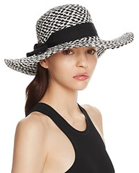 Bettina Two Tone Braided Floppy Sun Hat With Ribbon Trim Black White